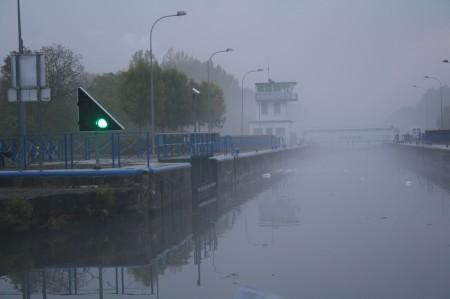 brouillard, écluse
