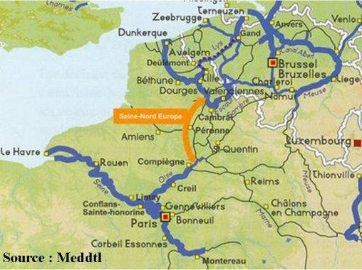 Tracé du futur canal Seine nord europe